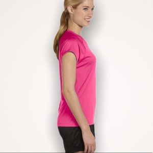 CHAMPION Duo Dry Heathered Pink V-Neck Tee